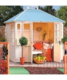Chatsworth Summer House < I'd love something like this for the garden. The kids can play on the trampoline and I can sit in my summer house with a book. Garden Buildings, Garden Structures, Back Gardens, Outdoor Gardens, Dream Garden, Home And Garden, Garden Living, Casas Club, Garden Cabins