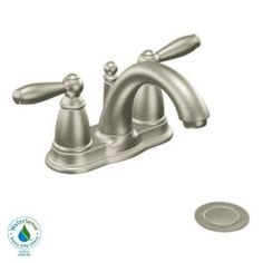 MOEN Brantford 4 in. 2-Handle Low-Arc Bathroom Faucet in Brushed Nickel-6610BN at The Home Depot