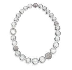 Ivanka Trump Necklace - Necklaces - Graduated Faceted Rock Crystal Bead and Pave Diamond Bead Choker with Diamond Signature Oval - $49,000
