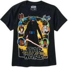 Star Wars The Force Awakens By The Light Big Men's Graphic Tee, Size: 2XL, Black