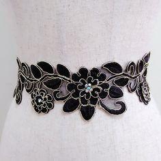 Black flower tiara, Floral crown, Wedding headband, Bridal headpiece, Beaded headdress, Jewel hair piece, Lace dress sash, Gown sash belt