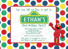 Sesame street birthday party invites