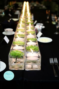 I love this alternating look water/candle and water/flower look. This could work in these square or in circle glasses with a summer flower like hydrangea or peony. I will have rounds of 10, so we could experiment with an arrangement of low vases that would work for a round table.