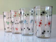 Vintage Atomic Jelly Jar Juice Glasses, Starburst Drinking Glasses, Glass Tumblers
