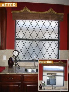 Before and After with our Orleans Leaded Glass Privacy film.