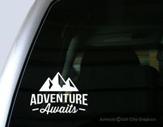 Show off your adventurous, recreational spirit with this Adventure Awaits sticker! This decal is great for your car window, laptop, tablet or