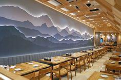 Nama Sushi at Kota Kasablanka Mall, Jakarta Resturant Interior, Japanese Restaurant Interior, Small Restaurant Design, Chinese Interior, Japanese Interior Design, Restaurant Interior Design, Coffee Shop Interior Design, Cafe Design, Design Design