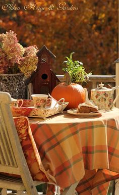 A nice autumn tea, love the tablecloth... (1) From: Warren Grove Garden, please visit