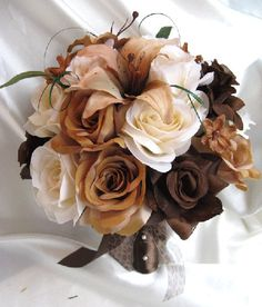 Wedding bouquet Bridal Silk flowers BROWN CREAM by Rosesanddreams, $200.00