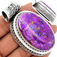 Copper Purple Arizona Turquoise 925 Sterling Silver Pendant Jewelry PCTP1590 - JJDesignerJewelry