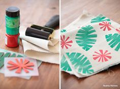Beatriz Herrera: Estampando en tela Stencil Painting, Fabric Painting, Fabric Art, Diy Pencil Case, How To Tie Dye, Fabric Stamping, Stamp Printing, Textile Design, Diy Clothes