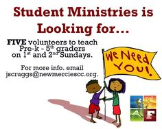 9/22/13 - We need you! Email Min Scruggs at jscruggs@newmerciescc.org