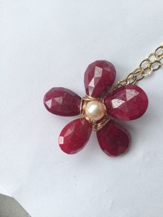 Made to order Ruby Heart Peach Pearl Flower Gold by Lilyb444, $76.00