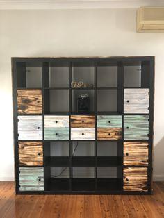 Kallax hack with Shou Sugi Ban style pine doors, drawers & cladding Ikea Kallax Shelving, Kallax Hack, Pallet Furniture, Furniture Ideas, Pine Doors, Cladding, Playroom, My House, Locker Storage