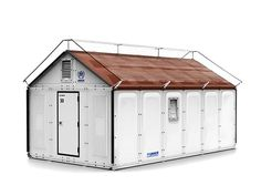 Ikea Prefab houses, modular houses, and tiny houses. Why not combine these housing options into a small shelter? This is a real game changer. IKEA unveiled a solar-powered flat pack shelter for e. Ikea Design, Nachhaltiges Design, Ikea Exterior, Emergency House, Emergency Shelters, Folding House, Shelter Design, Eco Architecture, Prefab Homes