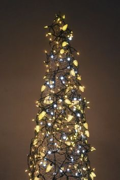 The lighted tree: Make a Christmas tree from a tomato cage and strings of lights