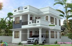 mid century modern home exterior paint colors with two storey house front view with small bungalow house design in philippines 2 Storey House Design, Duplex House Design, Simple House Design, House Front Design, Modern House Design, Indian House Plans, My House Plans, Modern House Plans, Small House Plans