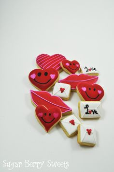 Valentine's Day Assorted Sugar Cookies - LOVE letters - Heart - kiss - red lips - 1 dozen - cute - Perfect sweet Romantic Valentine's Gift