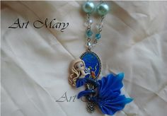 Necklace Blue Mermaid polymer clay fimo by Artmary2 on Etsy, €24.00