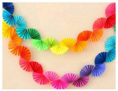 Rainbow Fan Garland {Easy DIY Party Decoration} - Ice Cream Off Paper Plates - - Rainbow fan garland that is so easy to make! You only need scissors, tape and paper to create this colorful DIY decoration for a rainbow theme party . Rainbow Fan, Rainbow Paper, Rainbow Theme, Rainbow Crafts, Easy Party Decorations, Paper Decorations, Paper Garlands, Paper Ornaments, Diy Simple