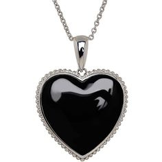 Lord & Taylor Onyx and Sterling  Heart Pendant Necklace ($125) found on Polyvore featuring women's fashion, jewelry, necklaces, accessories, black, silver, heart shaped pendant necklace, necklace heart pendant, pendant jewelry and sparkly necklace