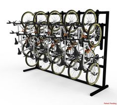 The DoubleUp Single Sided Free-Standing Vertical Bike Rack is the most effective commercial ultra-high density space-saving bike rack on the market. The DoubleUp Single Sided Units are perfect for bike rooms within multi-family developments and other u Outdoor Bike Storage, Indoor Bike Rack, Diy Bike Rack, Bike Hanger, Bike Storage Locker, Bike Storage Apartment, Bike Storage Rack, Garage Storage, Standing Bike Rack