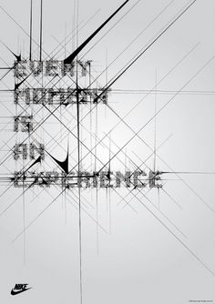 """Here are some typography poster designs for Nike, called """"Every moment is an experience"""". The posters are designed around the swoosh part of the Nike logo and Typographic Poster, Typography Art, Graphic Design Typography, Typography Inspiration, Graphic Design Inspiration, Design Ideas, Nike Poster, Poster Pictures, Poster Prints"""