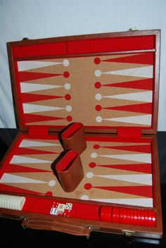 Vintage Backgammon Set. Cork Interior,  Bakelite pieces. SOLD