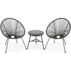 2 Egg designer chairs with side table - Acapulco taupe grey - PETX2BN Garden Dining Set, Garden Chairs, Patio Chairs, Mexican Furniture, Tempered Glass Table Top, Round Chair, Bistro Set, Retro Design, Chair Design