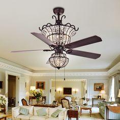 Warehouse of Tiffany Charla 4-light Crystal 52-inch Chandelier Ceiling Fan