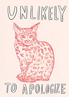 Untitled-Unlikely-To-Apologize, by Dave Eggers. This animated silkscreen work, Untitled (Unlikely to Apologize), by prominent writer and artist. Crazy Cat Lady, Crazy Cats, Illustrations, Illustration Art, Arte Peculiar, Dave Eggers, Photo Chat, Here Kitty Kitty, Grafik Design