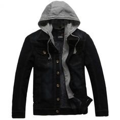 online shopping for Lookasdasd Mens Hooded Thicken Single Breasted Fleece Linen Denim Jacket Coat from top store. See new offer for Lookasdasd Mens Hooded Thicken Single Breasted Fleece Linen Denim Jacket Coat Denim Jacket Patches, Lined Denim Jacket, Denim Jacket Men, Leather Jacket, Men's Denim, Denim Shirts, Lässigen Jeans, Casual Jeans, Hooded Jean Jackets