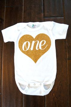 First Birthday outfit Gold One heart for Baby by GraceandLucille