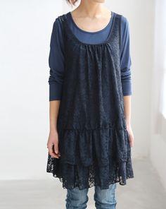 Soft Cotton T shirt tunic long sleeve dress by MaLieb on Etsy, $69.00