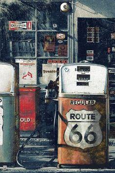 Poster Print Route 66 Gas Station Vintage Biker Road Warrior Hog Desert -- Click image for more details. Old Route 66, Route 66 Road Trip, Historic Route 66, Travel Route, Old Gas Pumps, Vintage Gas Pumps, Vintage Biker, Vintage Metal, Drive In