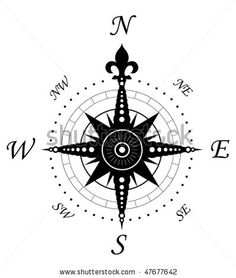Vintage compass symbol isolated on white for design. Jpeg version is also available by Seamartini Graphics Media, via ShutterStock