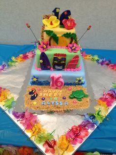 Luau Sweet 16 cake