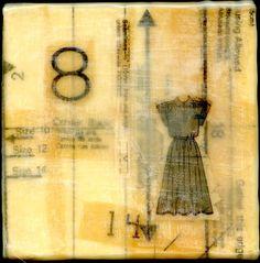 Dress an original encaustic collage painting 5 x 5 by joreimer, etsy
