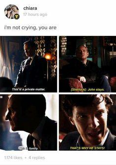 This is one of my favourite scenes. John is Sherlock's family and Sherlock would be damned if he lost him again. This is one of my favourite scenes. John is Sherlock's family and Sherlock would be damned if he lost him again. Sherlock Bbc, Sherlock Fandom, Benedict Cumberbatch Sherlock, Sherlock Books, Sherlock Humor, Watson Sherlock, Jim Moriarty, Sherlock Quotes, John Watson