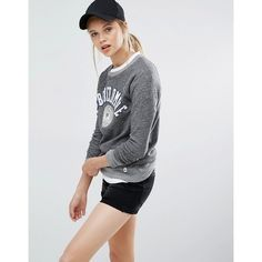 Abercrombie & Fitch Logo Sweatshirt (€61) ❤ liked on Polyvore featuring tops, hoodies, sweatshirts, grey, logo sweatshirts, raglan top, grey top, crewneck sweatshirt and gray crewneck sweatshirt