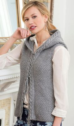 Free Knitting Pattern for Hooded Cable Vest - Vest with hood by Kimberly K. McAlindin features interesting textured stitch and cable details.