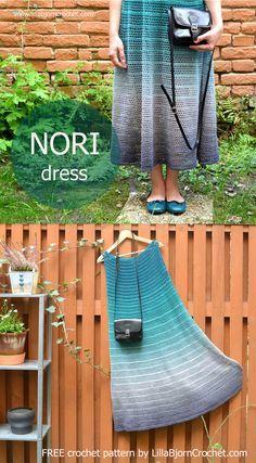 NORI dress is a FREE #crochet pattern aimed to beginners. Designed by www.LillaBjornCrochet.com