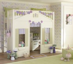 Loft bed and play house. A little girl's dream! It is from Pottery Bard, but painted and decorated here.