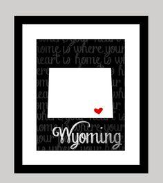 Wyoming State Print on Etsy