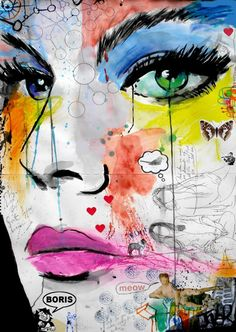 """Loui Jover Great Gypsy Dream  Mixed Media/Collage (Chalk, Ink, and Paint on Paper) 36.4"""" x 24"""""""