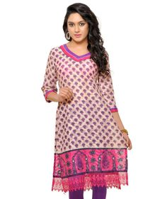 To quench your thirst, we endow you with the new-fangled ethnic fashion exhibiting a range of beautiful kurtas. Every piece is crafted with expertise, devoutness and a love for aesthetics to give you unparalleled comfort. BRAND: TissuCATEGORY: KurtaCOLOUR: Pink, Purple and BeigeMATERIAL: Cotton JacquardSIZE: The size of the product is the measurement of your bust in inches.Click to View to Measurement GuideCARE INFO: Dry Clean OnlyPRODUCT CODE: Tissu 1027DELIVERY: We know what you need! That…