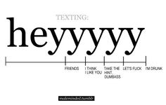 I feel like someone needs to tell you this when you get a phone. I feel like I must have given a lot of people the wrong impression when I texted them 'Heyyyyy.'