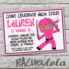 Pink Ninja birthday invitation, brown skin, do-it-yourself, digital print, gift