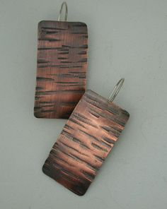 Urban Hammered Copper Earrings Sterling by SilverSeahorseDesign, $25.00