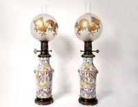 Paire Lampes Petrole Porcelaine Canton Boule Cristal Saint Louis Bronze 19e Vintage Porcelain Porcelain Painting Japanese Porcelain Dolls